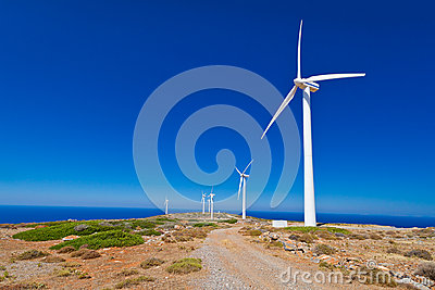 Wind turbines field over blue sky