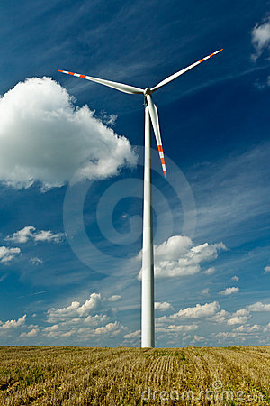 Wind Turbines On Gold Field With Blue Sky Royalty Free Stock Photos - Image: 20759468