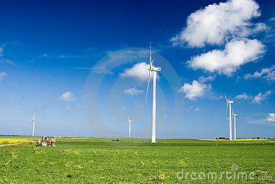 Wind turbines in green field
