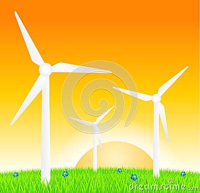 Wind turbines on meadow