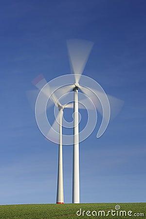 Wind turbines in movement