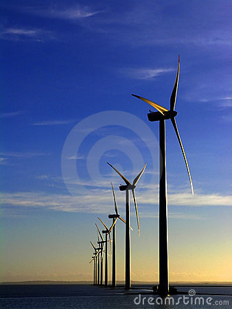 Free Wind Turbines Offshore Royalty Free Stock Photos - 64838