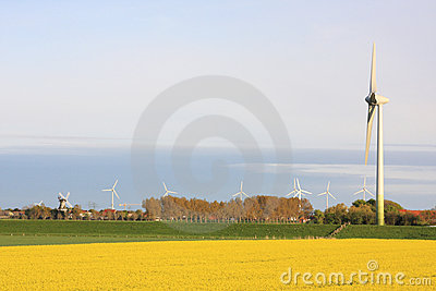 Wind turbines and old windmill