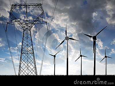 Wind turbines with power line