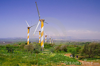 Wind turbines producing energy