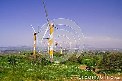 Wind turbines producing energy