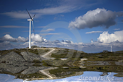 Wind turbines producing renewable electric energy