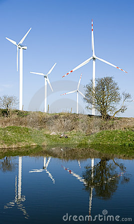 Wind turbines reflection