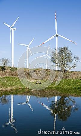 Wind turbines reflection