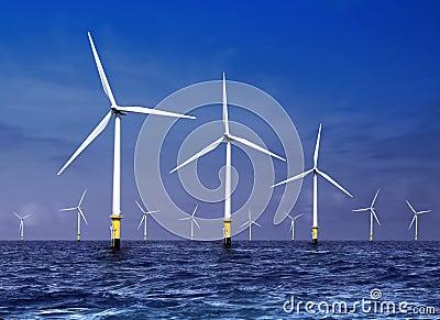 Wind turbines on sea