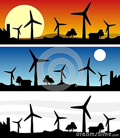 Wind Turbines Silhouette Banner