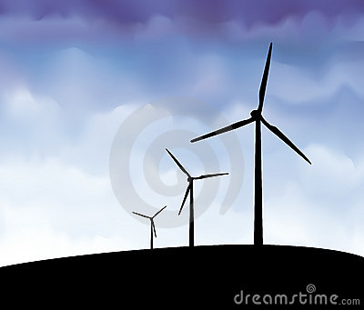 Wind turbines silhouette vector
