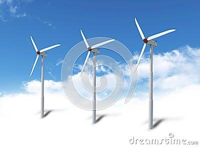Wind turbines in sky