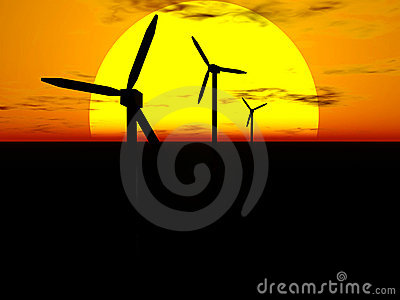 Wind turbines and sun