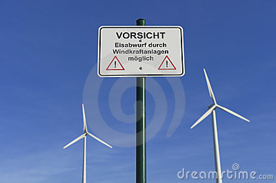 Wind turbines and warning sign