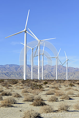 Wind Turbines in Wind Farm, Southwest Desert, USA