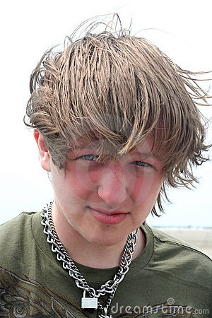 Windblown Teen Boy