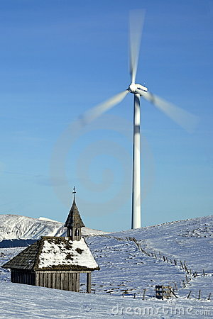 Windgenerator with a chapel