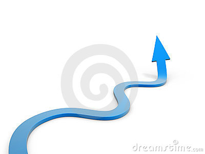 Winding arrow path