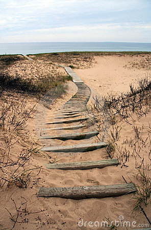 Winding Boardwalk on Michigan Beach