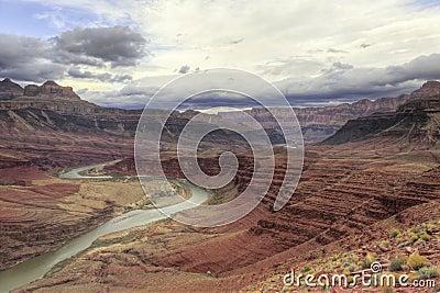 Winding Colorado River through Grand Canyon