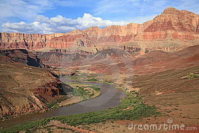 Winding Colorado River through Grand Canyon