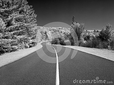 Winding country road in infrared