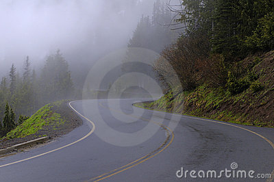 Winding curve road in a foggy forest