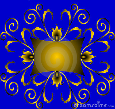 Winding gold(en) ornament with colour