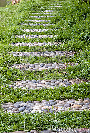 Winding grass pebble pathway