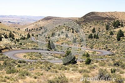 Winding Highway in Oregon High Desert Farmland