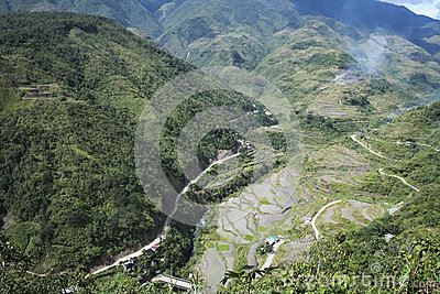 Winding mountain road banaue luzon philippines