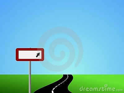 Winding road with blank sign