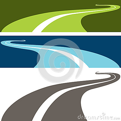 Winding Road Vector Illustration