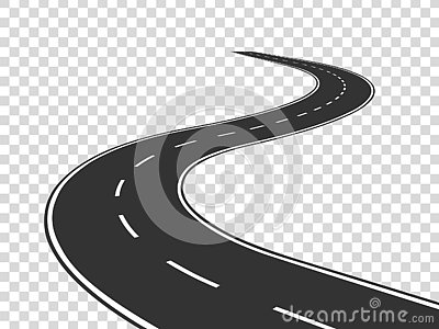 Winding road. Journey traffic curved highway. Road to horizon in perspective. Winding asphalt empty line isolated Vector Illustration