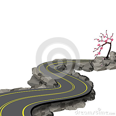 A winding road with markings among rocks and stones with a shadow. Cherry blossoms. Sakura. View in perspective Vector Illustration