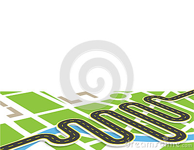 A winding road with markings. View in perspective with shadow. It is located diagonally. Local map. illustration Vector Illustration