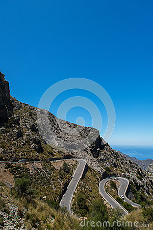 Winding road in mountain in Mallorca