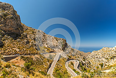 Winding road in mountain at Mallorca Island Spain
