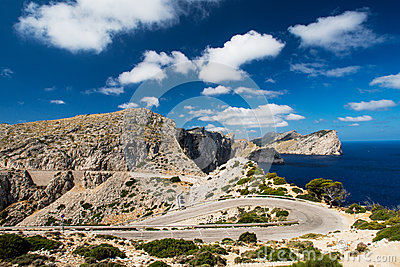 Winding road in mountain in Mallorca Spain