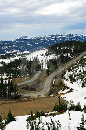 Winding road in mountain washington