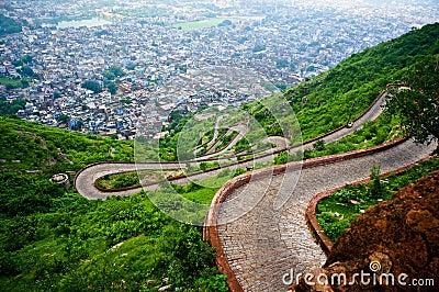 Winding road of Nargarh fort jaipur
