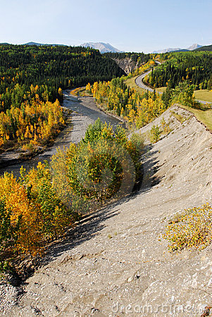 Winding road and river in valley