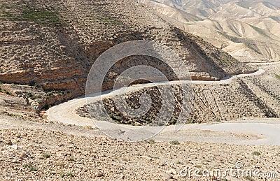 Winding road in the rocky desert
