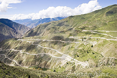 Winding road in Tibet