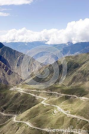 Winding road in Tibet