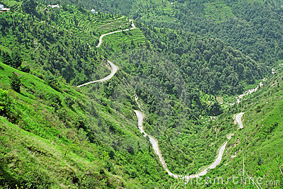 Winding roads of the himalayas, India