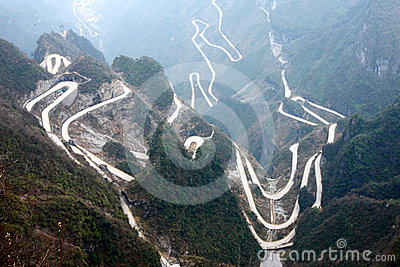 Winding roads in mountains