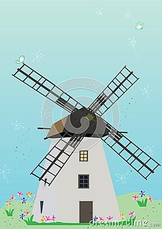 Windmill Birds Flowers_eps