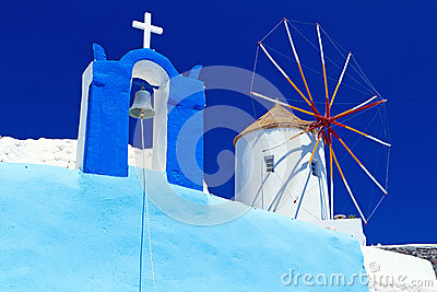 Windmill at the church on Santorini island